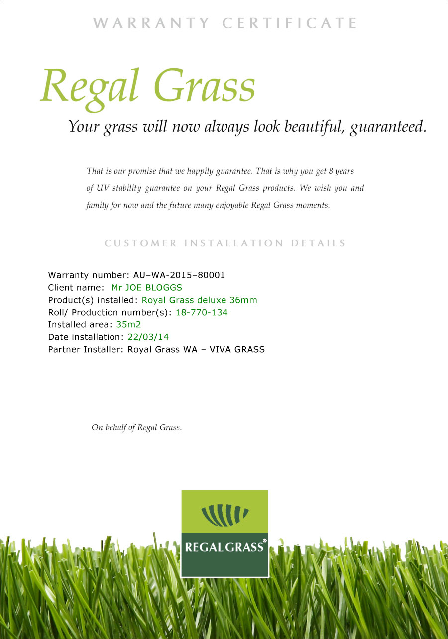 regal grass warranty